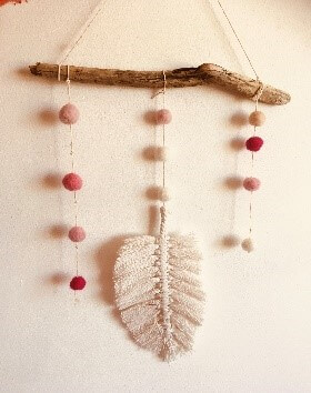 Macrame feather mobile